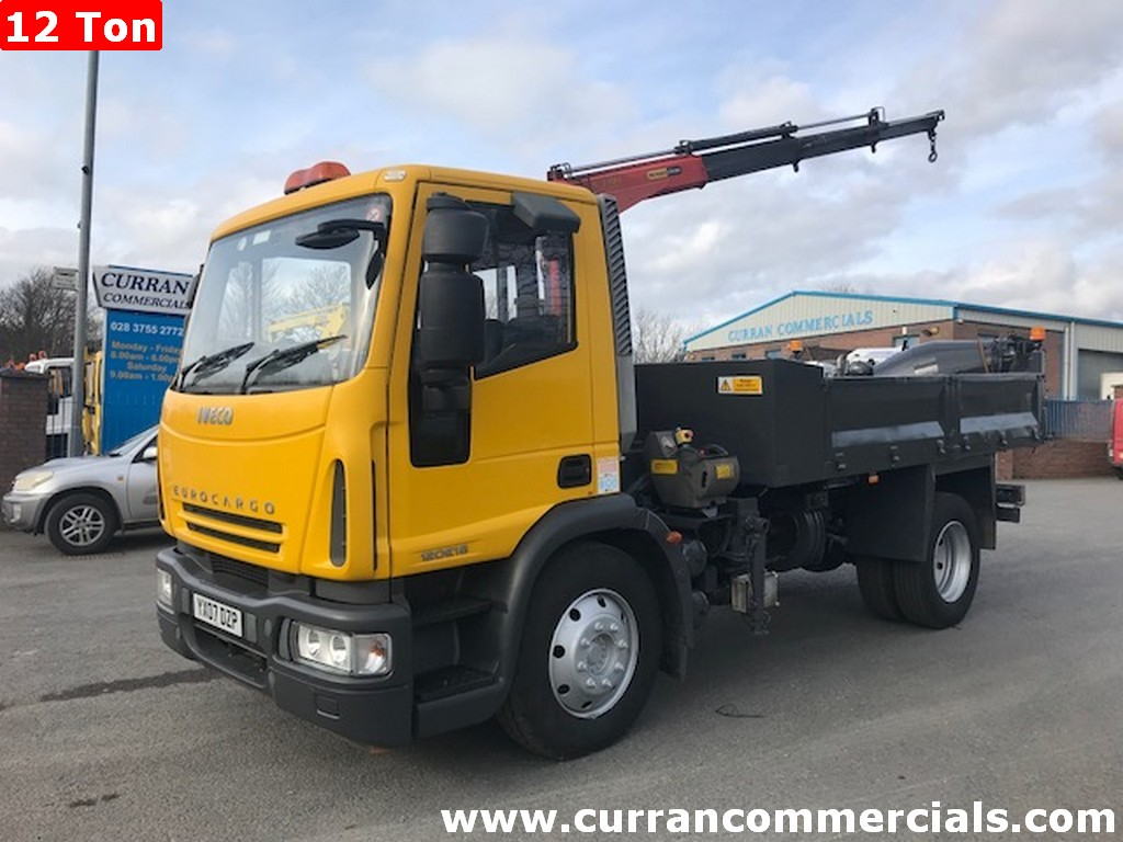 2007 iveco 120e18 12 ton tipper with crane and compressor for sale
