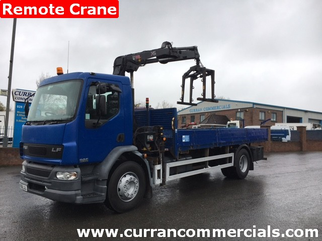 2007 daf lf 55 250 18 ton dropside flat with 11TM crane for sale