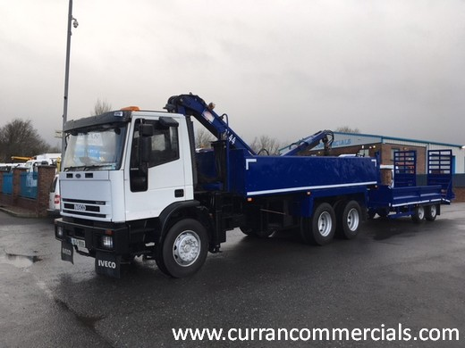 2002 iveco 6x4 tipper with crane and 10ton beavertail plant trailer