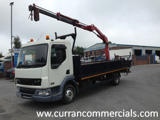 2003 daf lf 45 150 7.5 ton dropside flat with rear mounted 8tm crane for sale