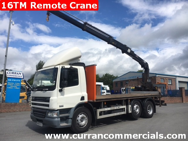 2007 daf cf 75 310 6x2 flat with rear mounted 16tm hiab crane for sale
